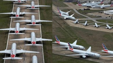 Photo of صور لم نراها حتى في الأفلام | الطائرة مركونة بكثافة في المطارات بسبب كورونا