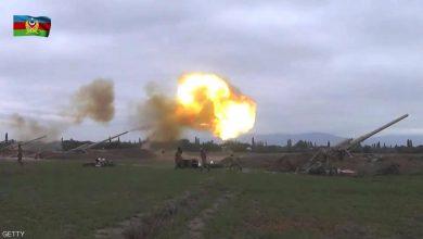 صورة القصف الأذربيجاني على عاصمة جمهورية قره باغ